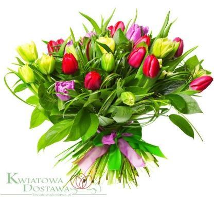 Bukiet Radosne tulipany 25 szt. - Tulipany - Kwiaciarnia ...