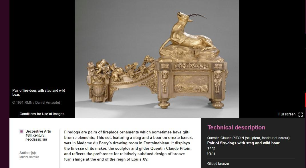 """One of the items that appears in a keyword search for 'animal' is this gilded bronze piece, entitled """"Pair of Fire-Dogs with Stag and Wild Boar"""""""