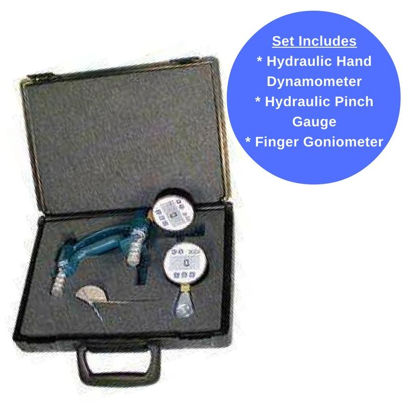 Features 3 Baseline Evaluation Tools Including a 300 LB Hand Dynamometer With LCD Display, Digital Pinch Gauge, and  Steel Goniometer