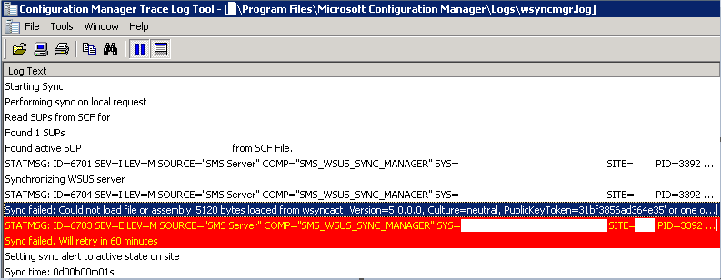 PushDeploy: SCCM 2012 SUP Sync - Strong Name Verification Failed