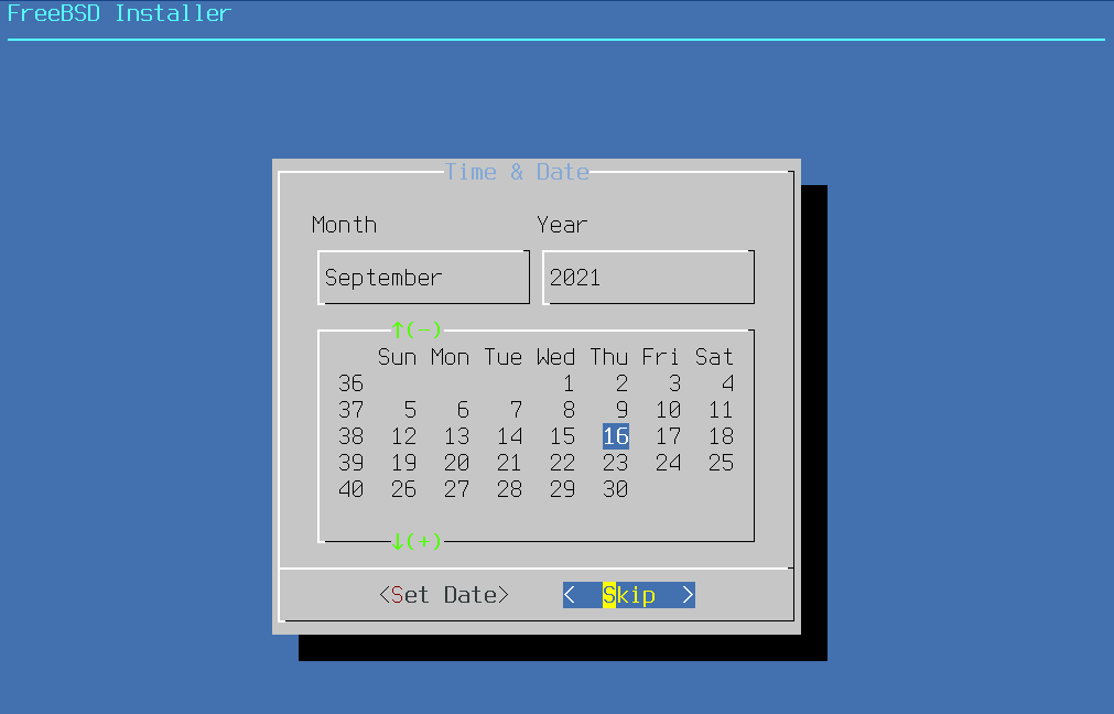 FreeBSD Installer - Time & Date. Source: nudesystems.com