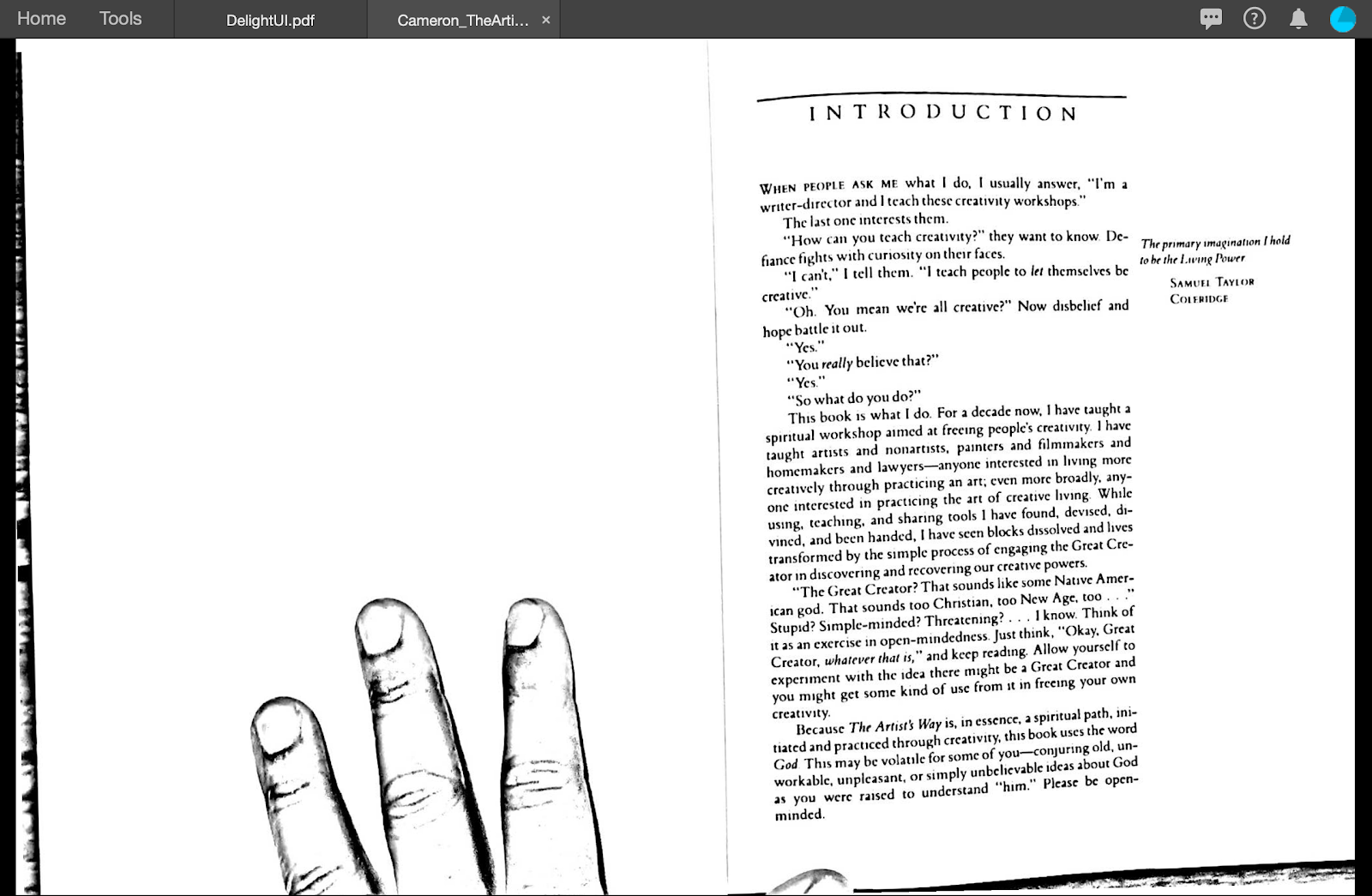 High contrast scan of book spread with three fingers of a hand on the left hand page