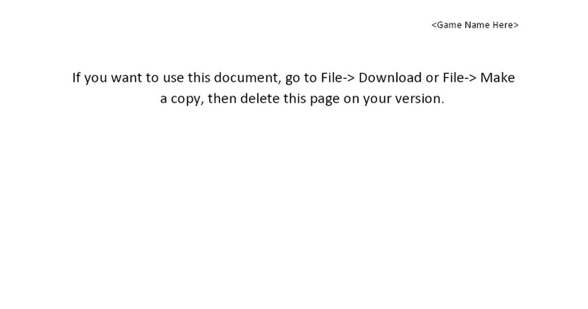 Game Design Document Template Google Docs - Gdd template