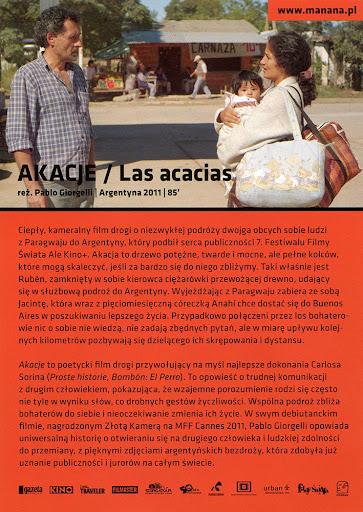 Tył ulotki filmu 'Akacje'