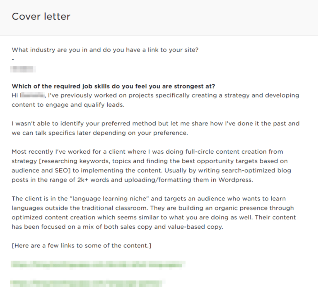 upwork proposal sample - copywriting job proposal