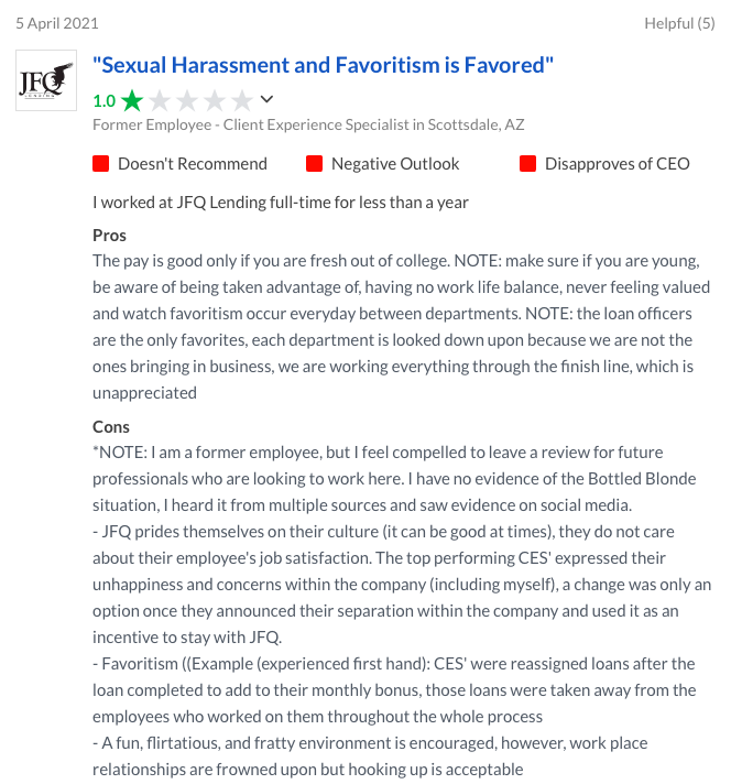 JFQ lending reviews by employees