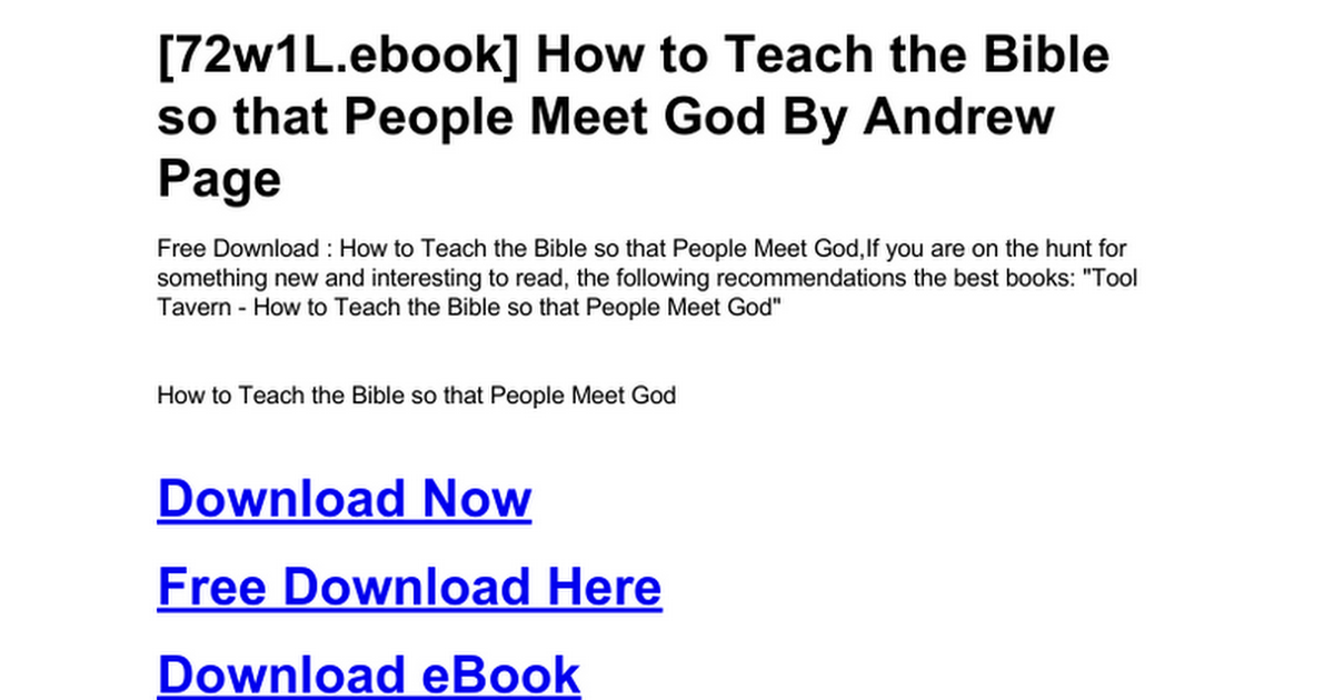 How to teach the bible so that people meet godc google docs fandeluxe Document