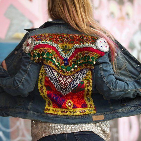 Embroidered denim jacket, embellished jean jacket, boho jean jacket, 70s style  denim, festi… | Embellished denim, Embroidered denim jacket, Embellished denim  jacket