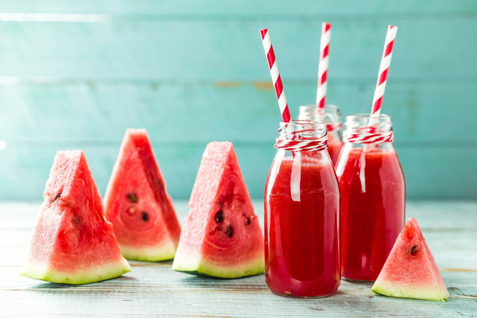 Healthy food. Watermelon slices and juice drinks