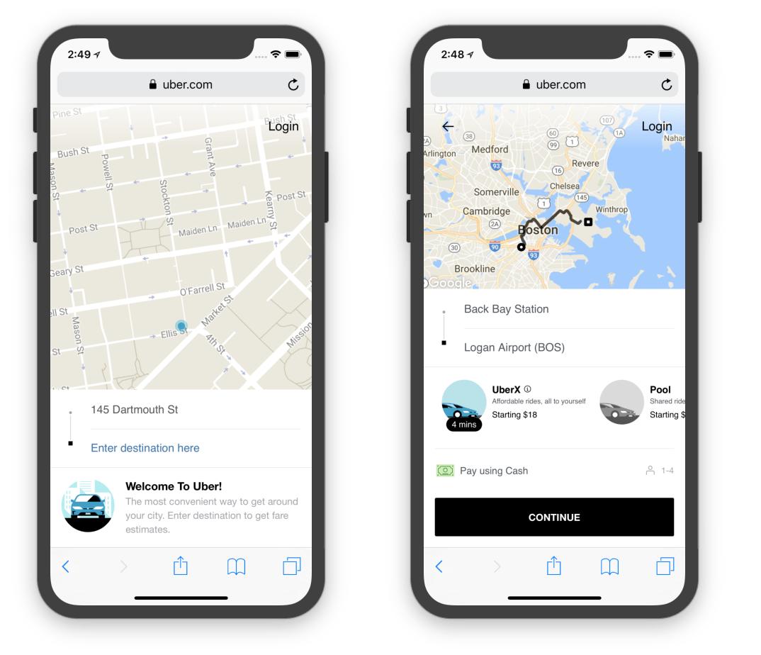 The Uber Progressive Web App.