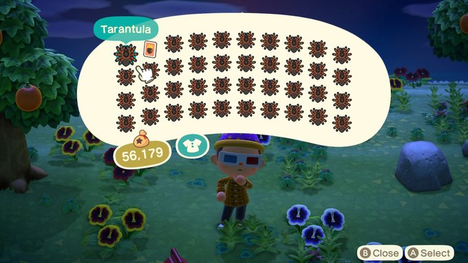 View of Animal Crossing villager with tarantulas