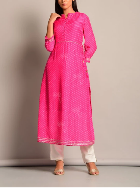 Pink Leheriya Anarkali Kurti for Women
