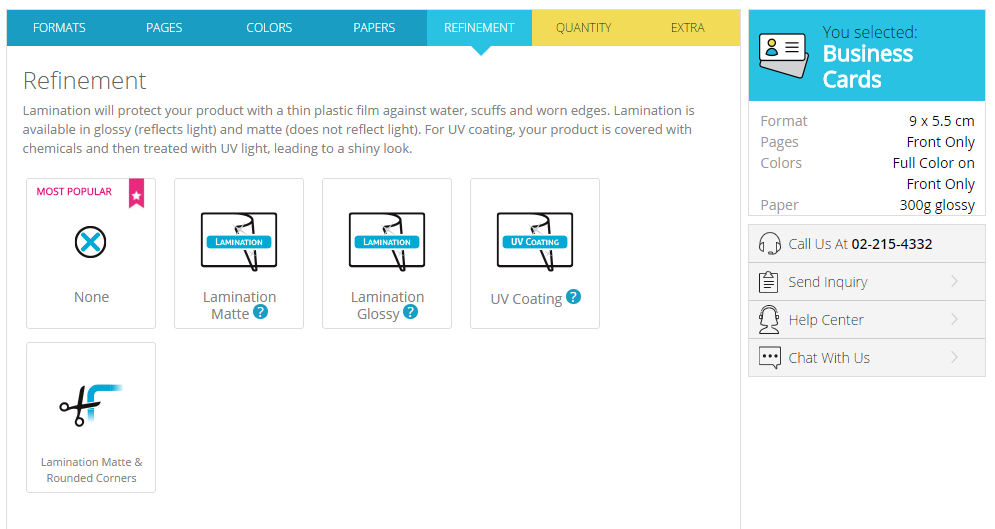 Choice of refinement in Gogoprint's configurator