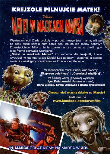 Tył ulotki filmu 'Matki W Mackach Marsa'