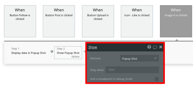 Dribbble no code clone displaying a shot popup