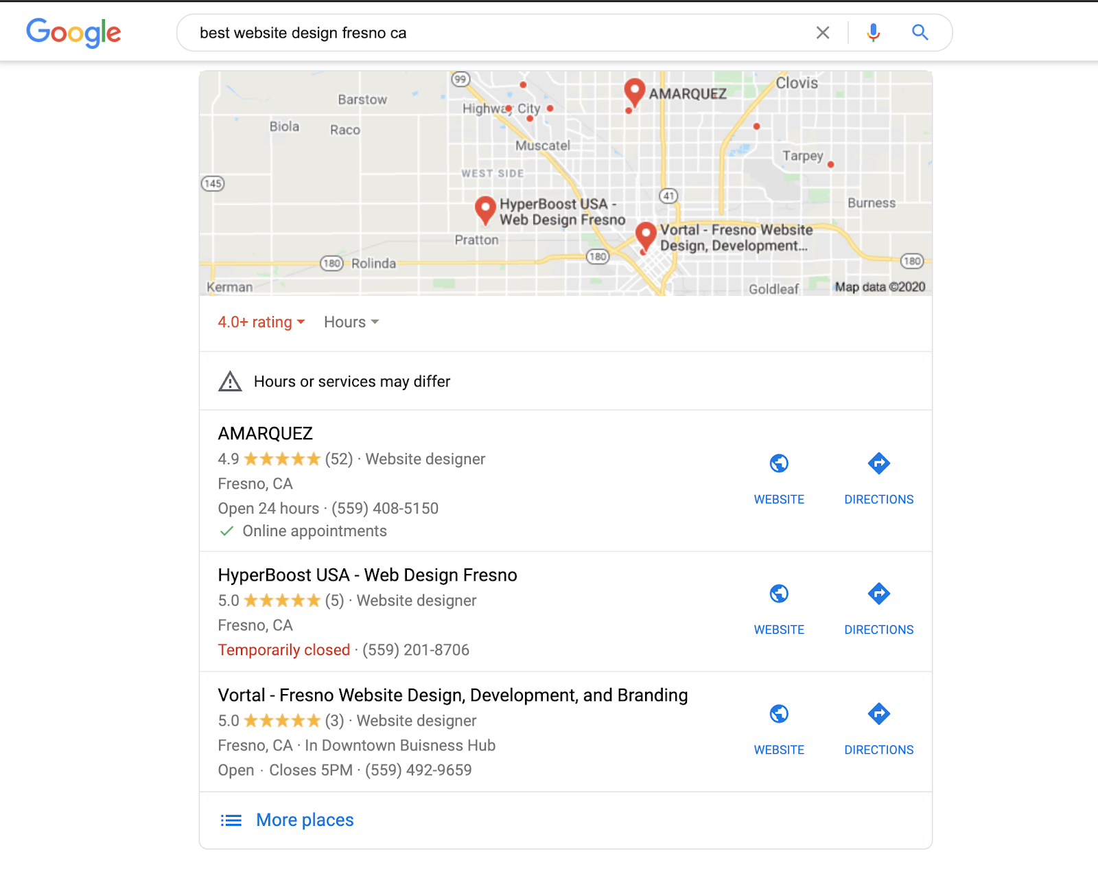 "A screenshot of the Google Map Pack, local search results for ""best website design Fresno CA"""