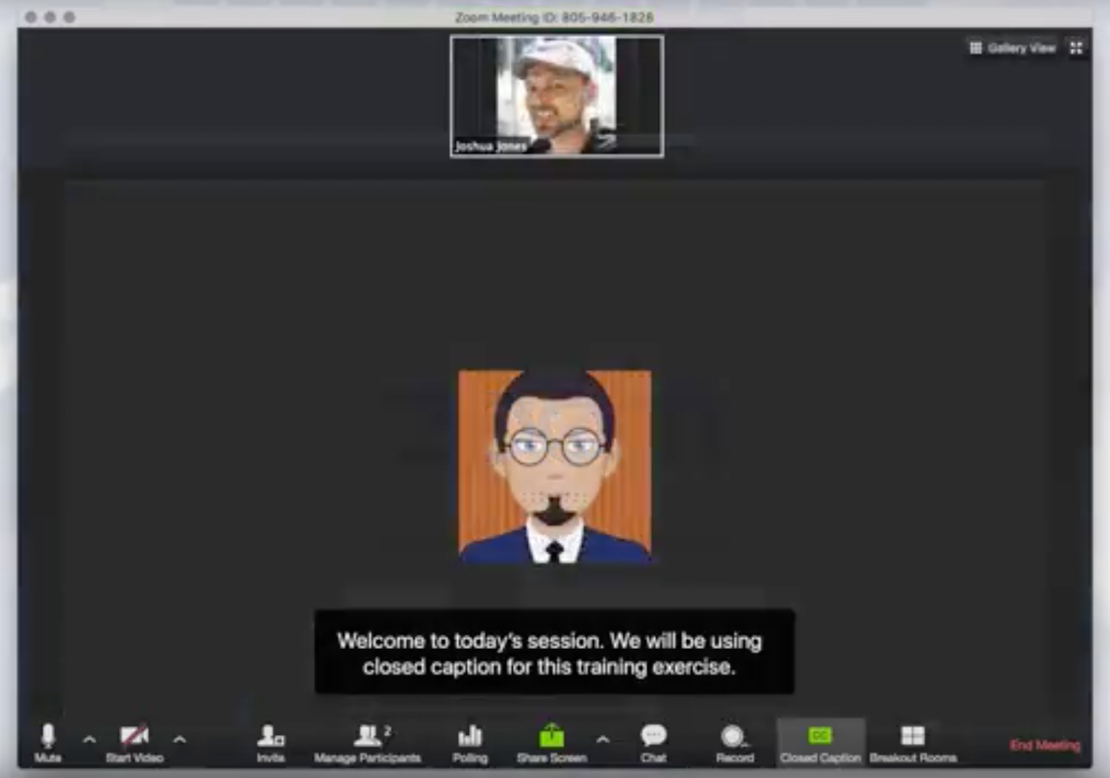 Screencapture during Zoom call, including example of live captions