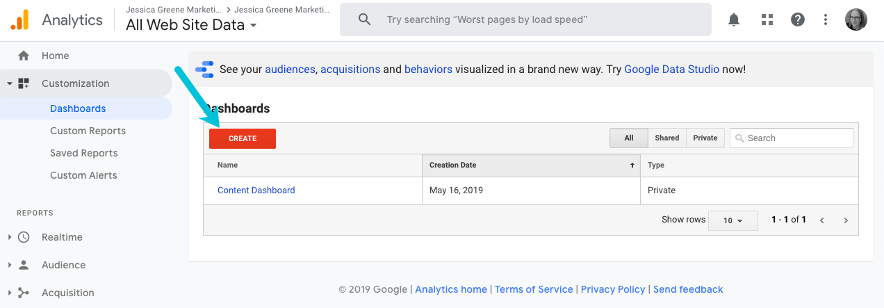 how to create a new dashboard in google analytics