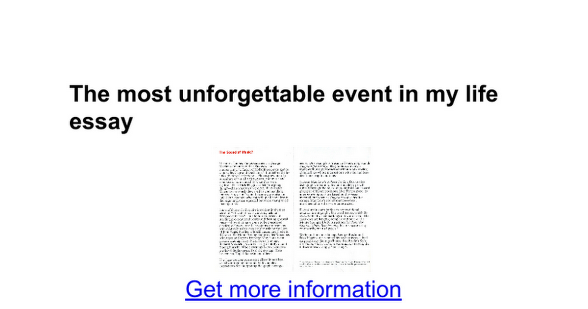 the most unforgettable event in my life essay google docs