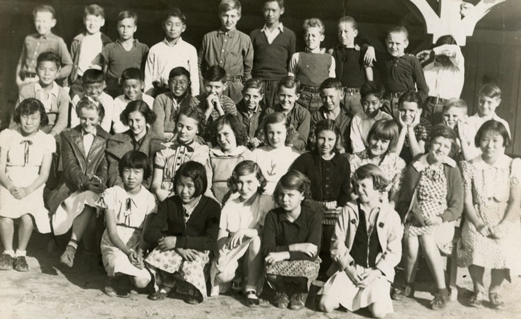 Eighth grade class photo; Dick is in back row, third from right