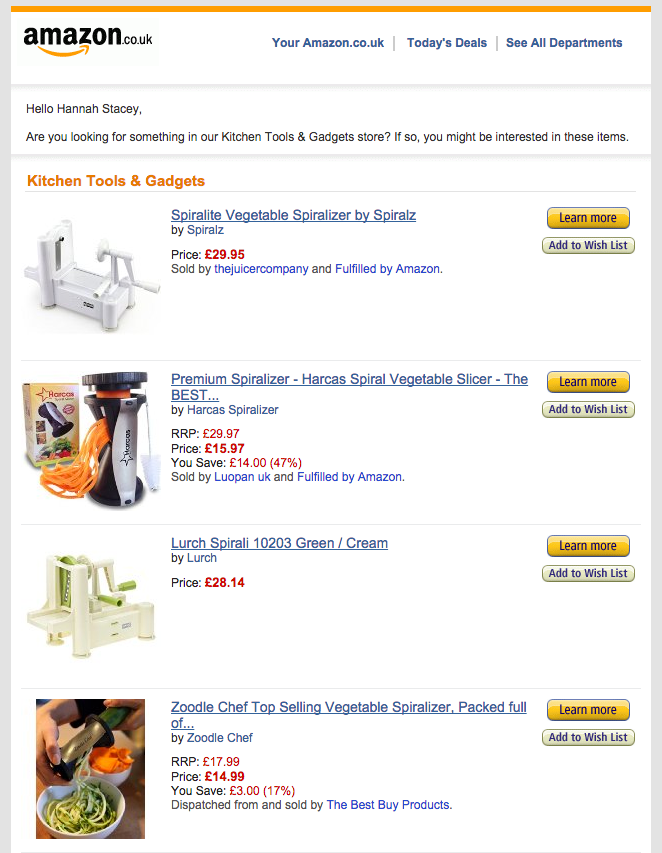 amazon browse abandonment email example