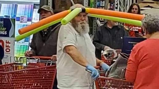 Pool Noodle Hat Guy | Know Your Meme