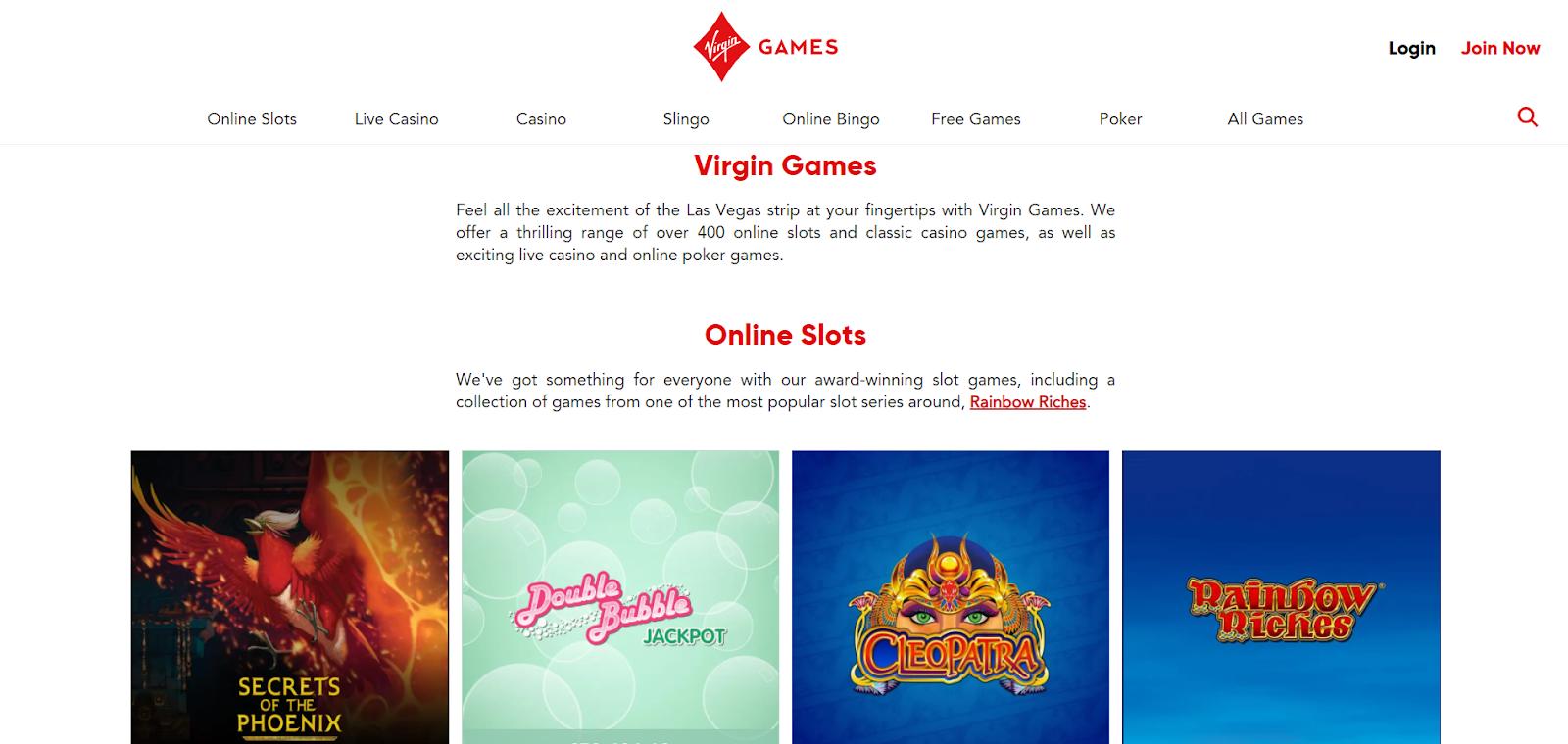 virgin games casino homepage
