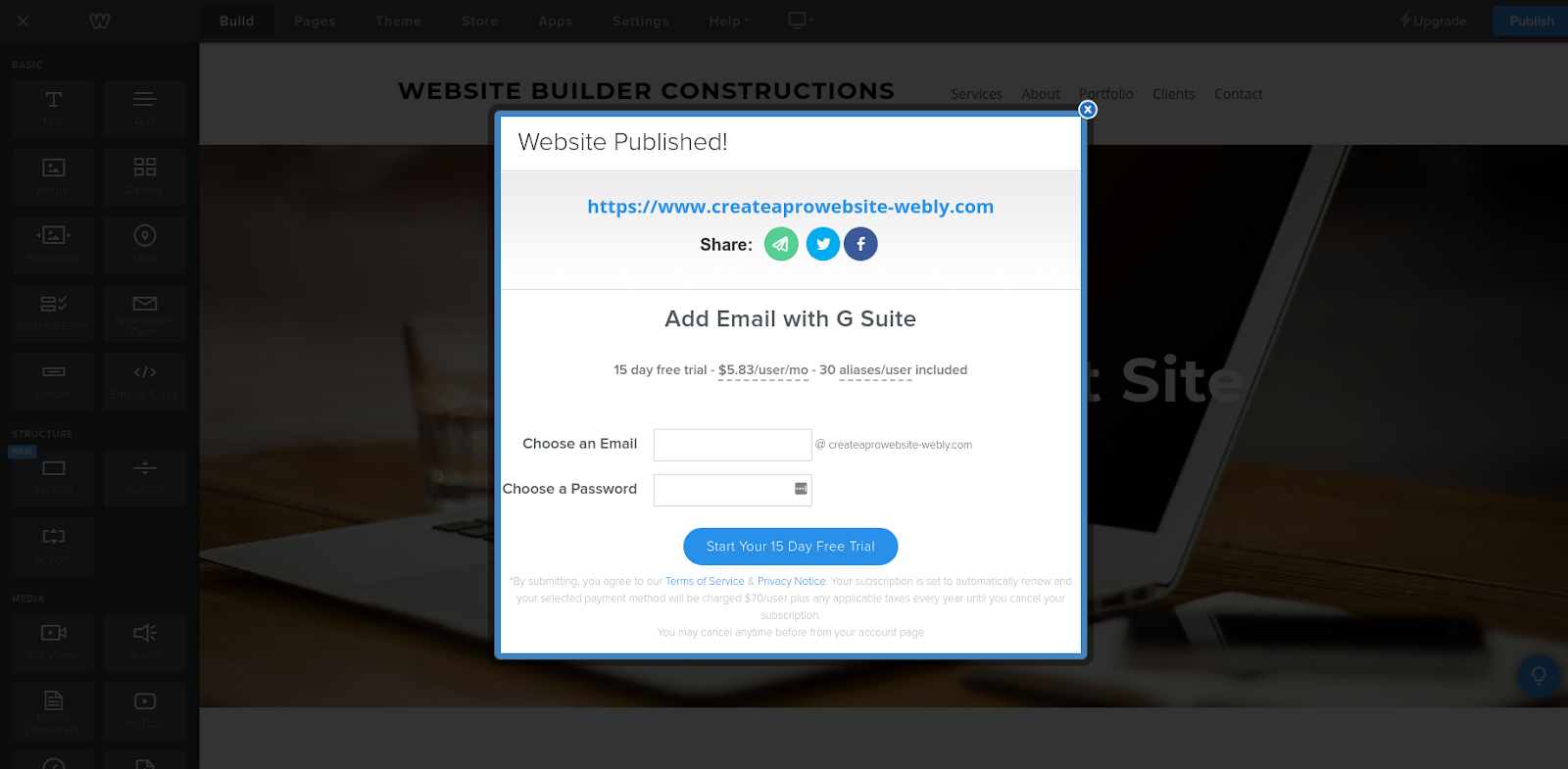 weebly website builder published