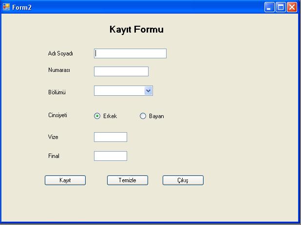 VB.Net Access Bağlama Kayıt Formu Görüntüsü