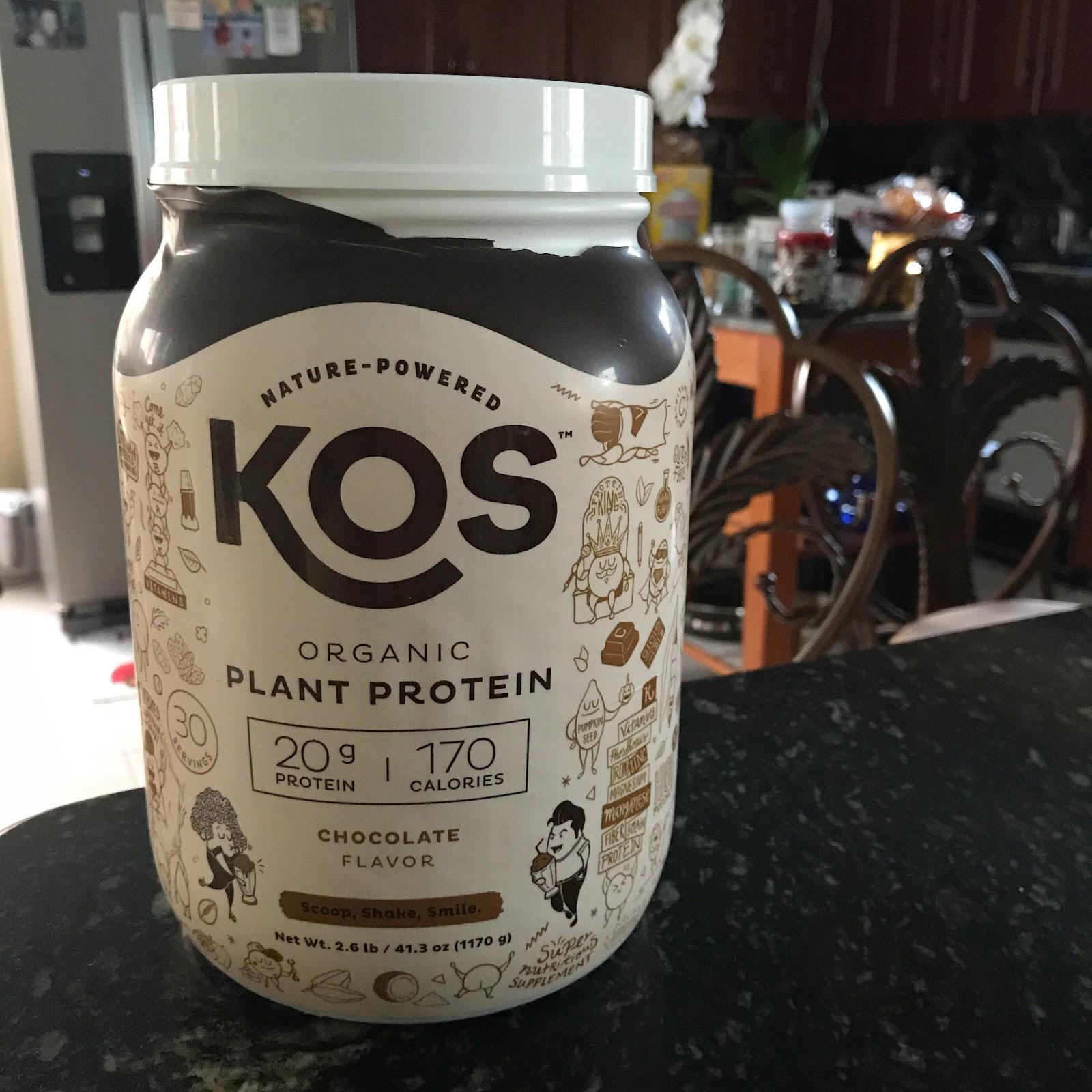 KOS Organic Plant Protein tub.