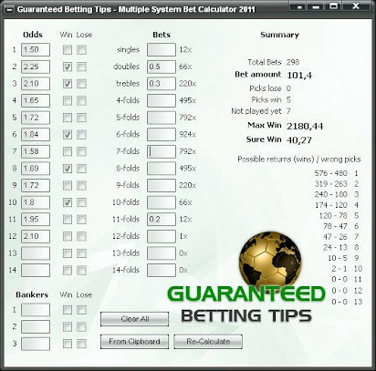 fixed odds betting calculator for football