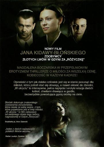 Tył ulotki filmu 'W Ukryciu'