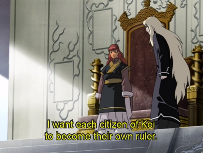 "Youko in her imperial garb says ""I want each citizen of Kei to become their own ruler."""