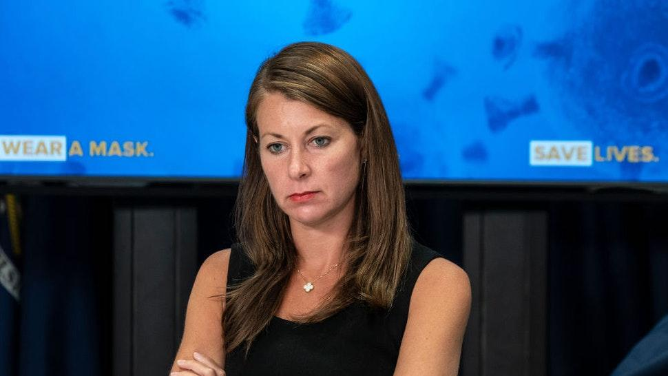 NEW YORK, UNITED STATES - 2020/06/29: Secretary to Governor Melissa DeRosa attends NYS Governor Andrew Cuomo (not shown) announcement and media briefing at 3rd Avenue office.