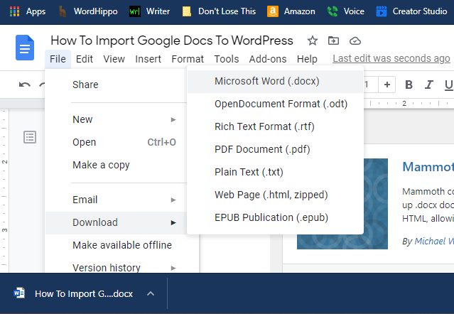 A screenshot from Google Docs shows where to Download a document for Microsoft Word.