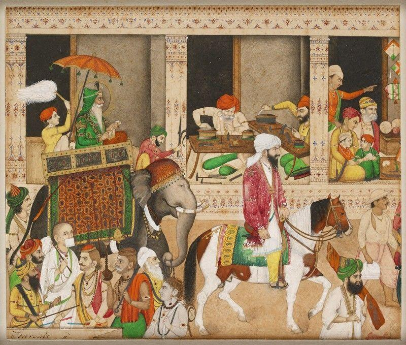 Maharaja Ranjit Singh in a bazaar; Lahore, India 1840 - 1845 | Eastern art,  Asian art, War art