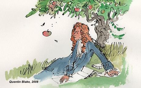 Newton under a tree with an apple falling