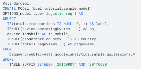 Machine learning with SQL in BigQuery