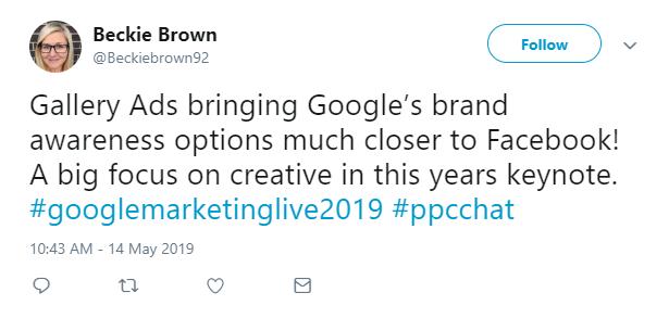 beckie brown twitt about Google Gallery Ads