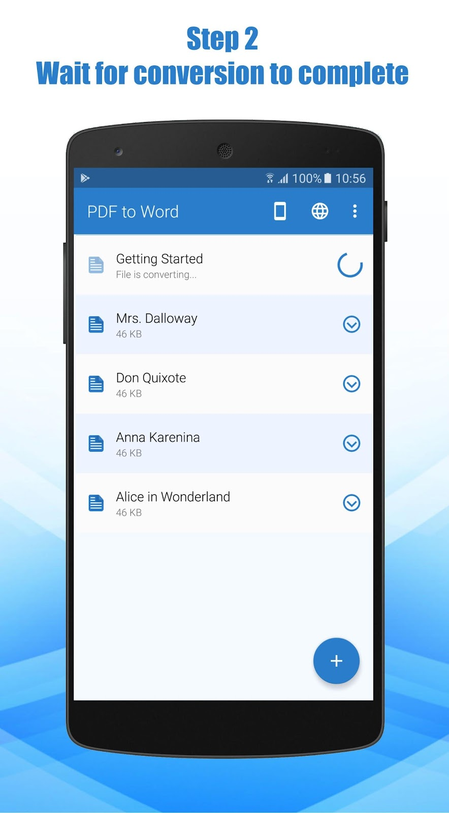 PDF to Word Converter app conversion steps on mobile