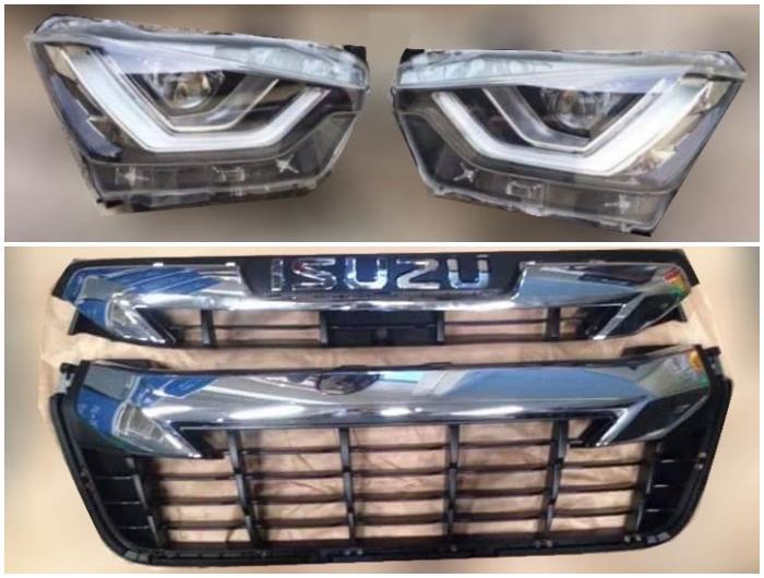 ชิ้นส่วนไฟหน้าและกระจังหน้าของ Isuzu D-Max 2020