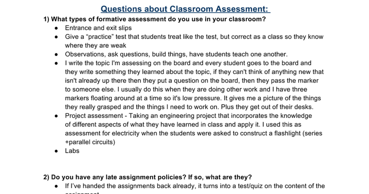 Classroom Assessment - Collaborative Project