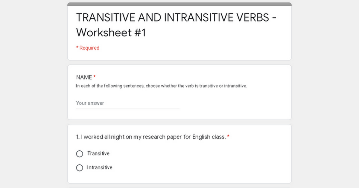 TRANSITIVE AND INTRANSITIVE VERBS - Worksheet #1