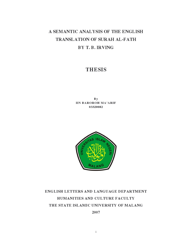 Ebook Education 03320082 A Semantic Analysis Of The English Translation Of Surah Al Fath By T B Irving The Influence Of Conflicts To Jean Valjean S Character Development In Victor Hugo S Les Pdf Cair Udin Tgbyhn Blogger Com