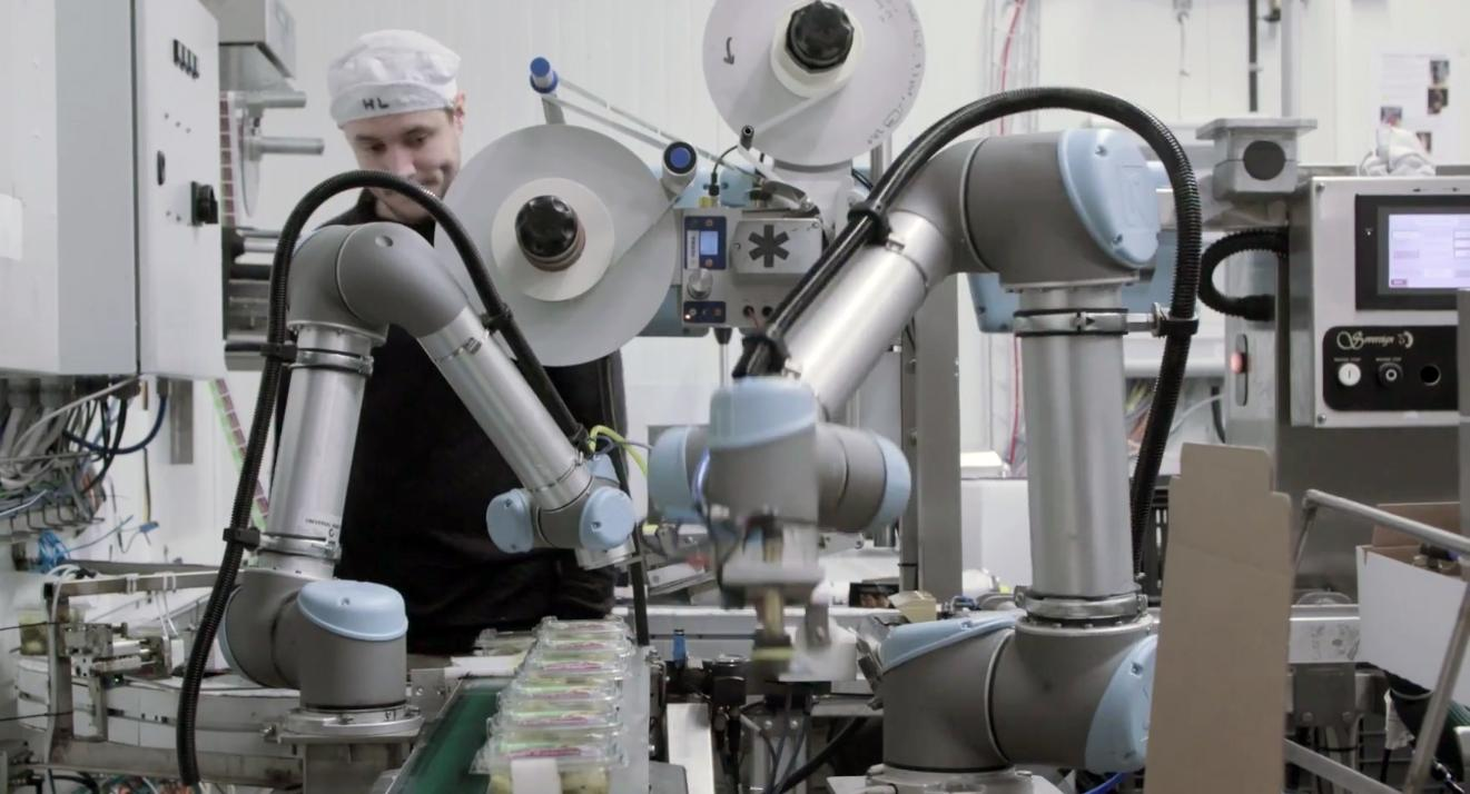 Cobots from Universal Robots for scalable packaging setups showing ...