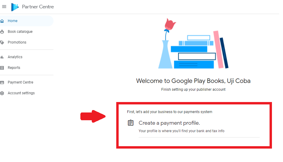 cara menjual buku di google play : menyiapkan profil pembayaran