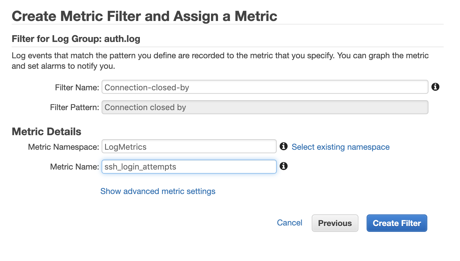 Name the filter and define the metric details in Amazon CloudWatch.