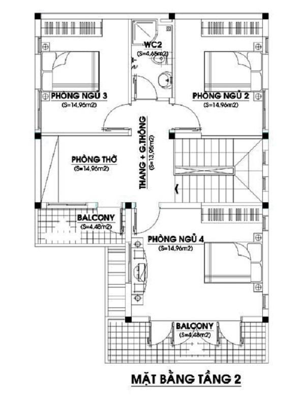 Bản vẽ mặt bằng biệt thự 2 tầng 4 phòng ngủ tầng 2