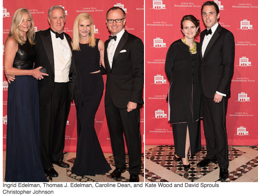 Karen Klopp, Hilary Dick article for New York Social Diary, What to wear to a black tie gala for Lenox Hill Neighborhood Association.   Ingrid Edelman, Thomas J. Edelman, Caroline Dean, Kate Wood David Sproulus.