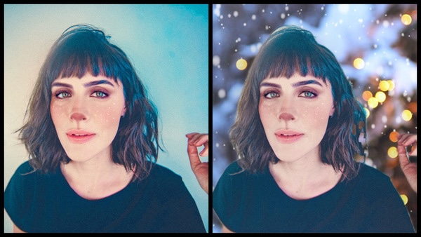 Montagem com 2 fotos de uma mulher com maquiagem de henna mostrando o antes e depois da edição.